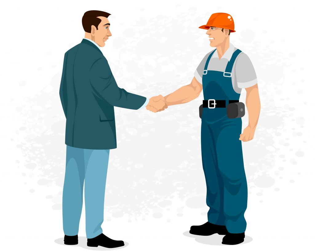 cartoon image of a homeowner meeting his installer