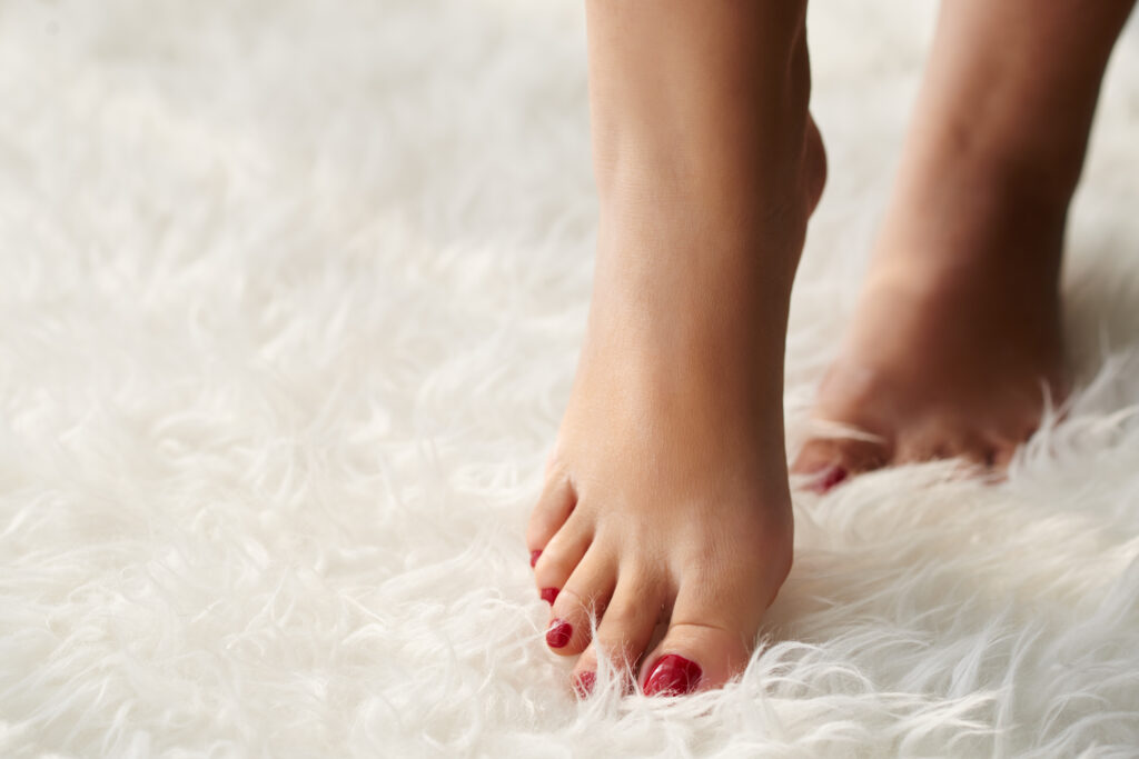 bare feet on cozy cloud cheap carpet