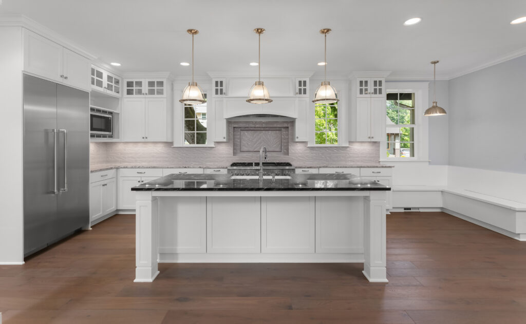 mohawk revelance in tea time high contrast floor with white cabinets
