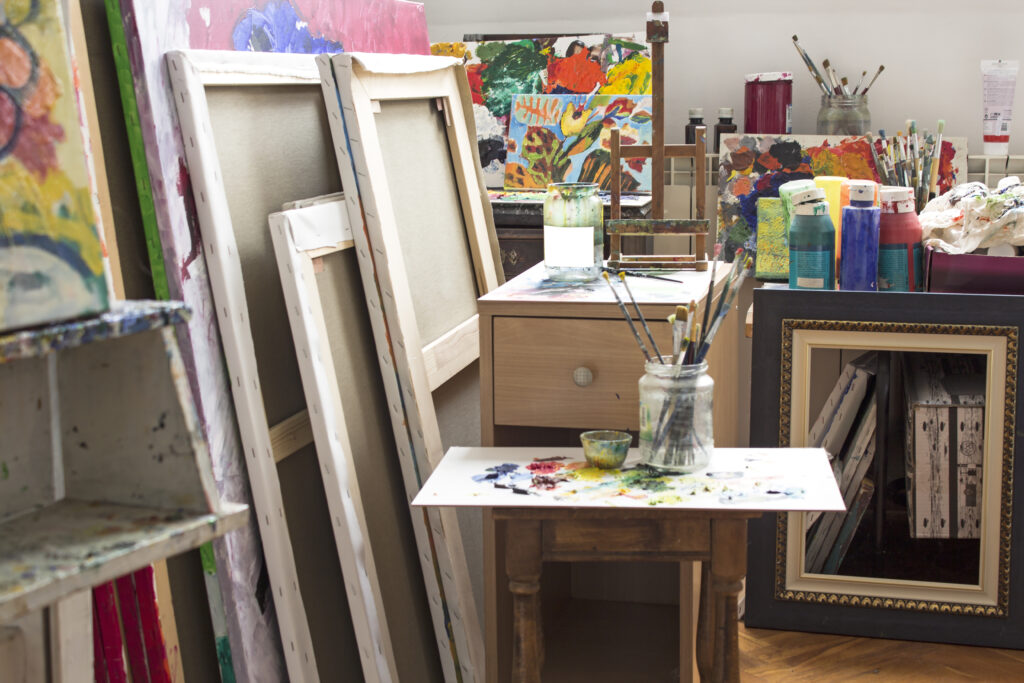 artist workspace and supplies for she shed ideas